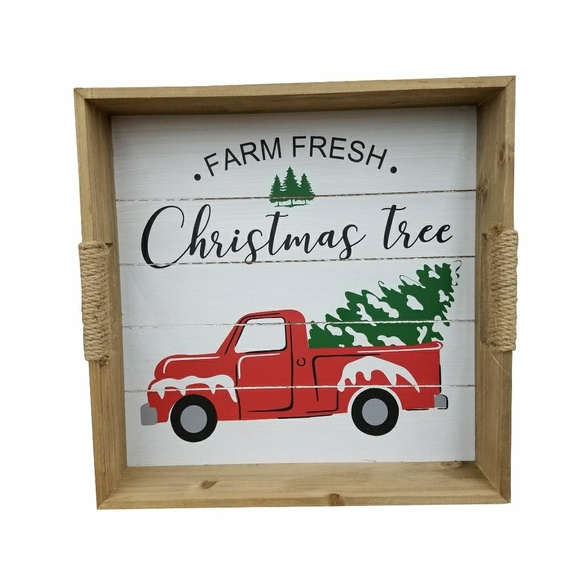 Other - Farm Fresh Christmas Tree Red Truck Wood Tray